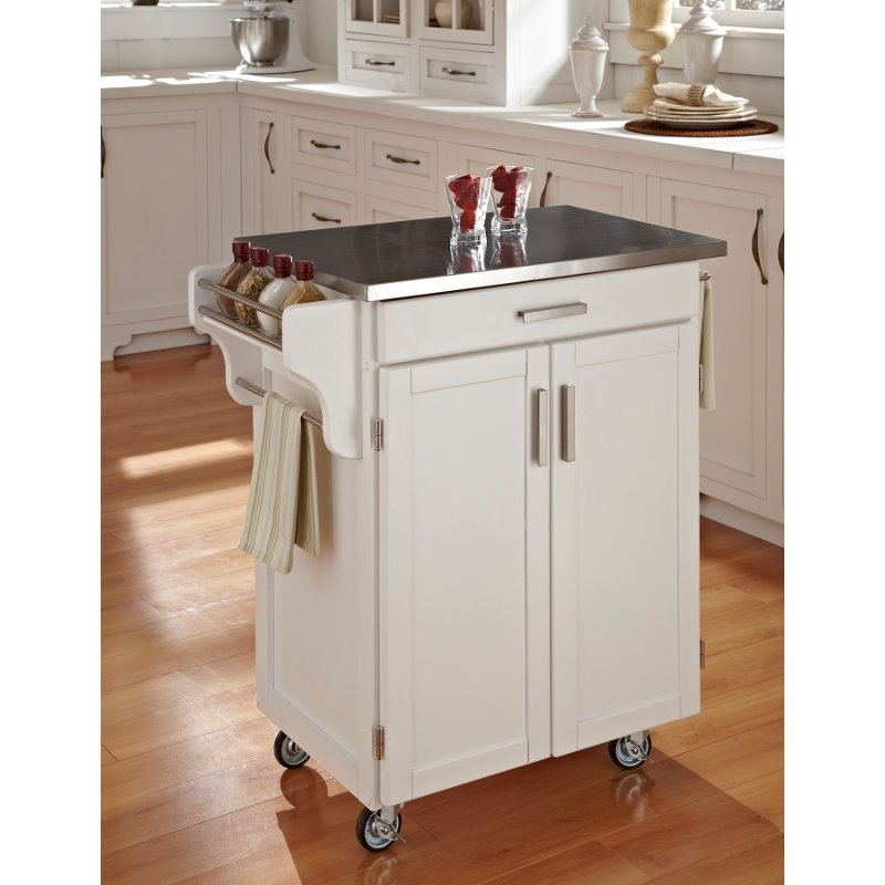 Cuisine Cart White Finish Stainless Top - Create-a-Cart
