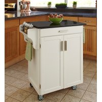 Cuisine Cart White Finish Black Granite Top - Create-a-Cart