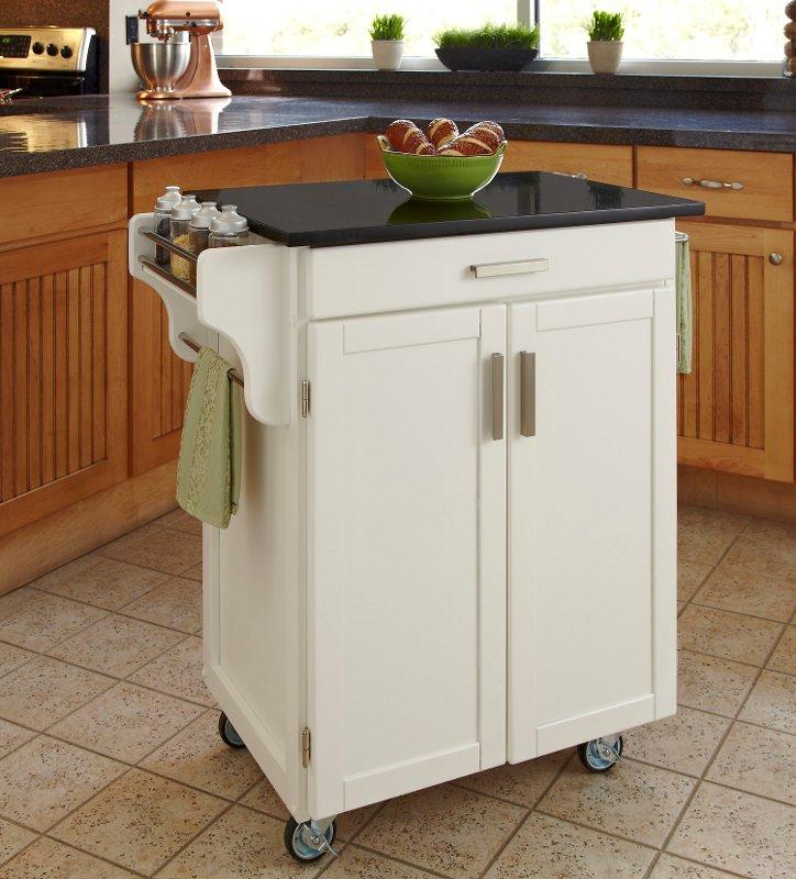 Cuisine Cart White Finish Black Granite Top - Create-a-Cart