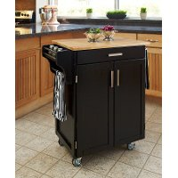 Cuisine Cart Black Finish with Wood Top - Create-a-Cart