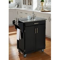 Cuisine Cart Black Finish with Salt & Pepper Granite Top - Create-a-Cart