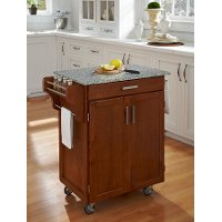 Cuisine Cart Warm Oak Finish with Salt & Pepper Granite Top - Create-a-Cart
