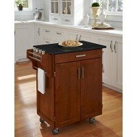 Cuisine Cart Warm Oak Finish Black Granite Top - Create-a-Cart