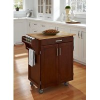 Cuisine Cart Cherry Finish with Wood Top - Create-a-Cart