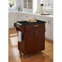 Cuisine Cart Cherry Finish Black Granite Top - Create-a-Cart