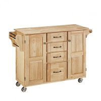 Natural Finish with Natural Wood Top Kitchen Cart - Create-a-Cart