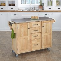 Natural Finish Stainless Top Kitchen Cart - Create-a-Cart