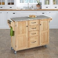 Natural Finish with Salt & Pepper Granite Top Kitchen Cart - Create-a-Cart