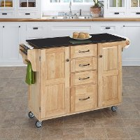 Natural Finish Black Granite Top Kitchen Cart - Create-a-Cart
