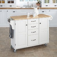 White Finish with Natural Wood Top Kitchen Cart - Create-a-Cart