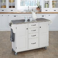 White Finish Stainless Top Kitchen Cart - Create-a-Cart