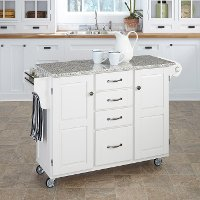 White Finish SP Granite Top Kitchen Cart - Create-a-Cart