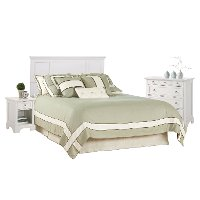 White Queen Headboard, Nightstand, and Chest - Naples