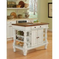 Antiqued White Kitchen Island - Americana