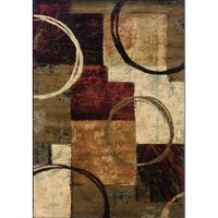 8 x 11 Large Brown, Red and Ivory Area Rug - Hudson