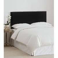 280NBVBLK_PW Velvet Black Nail Button Border Twin Headboard