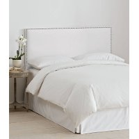280NBVWHT_PW Velvet White Nail Button Border Twin Headboard