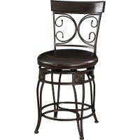 Metal Brown Swivel Seat Counter Height Stool