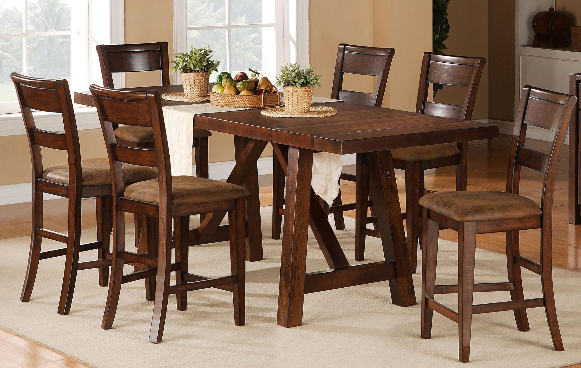 5 Piece Dining Set Transitional Veca Burnished Mango