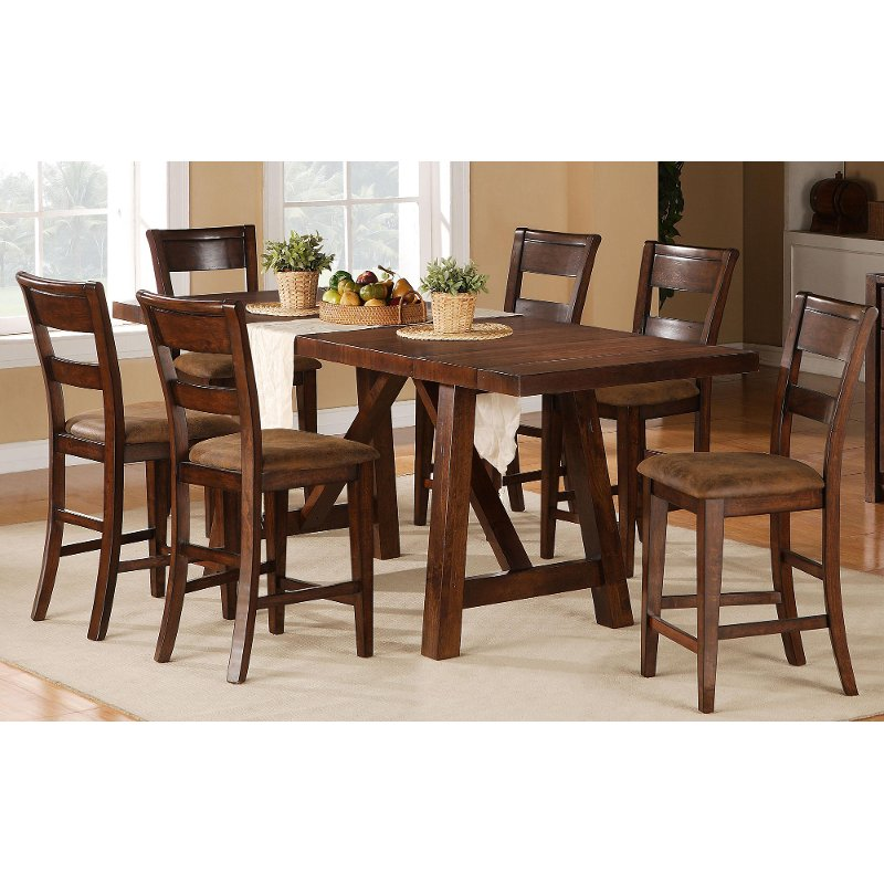 Burnished Mango Counter Height Dining Table Veca Rc Willey Furniture