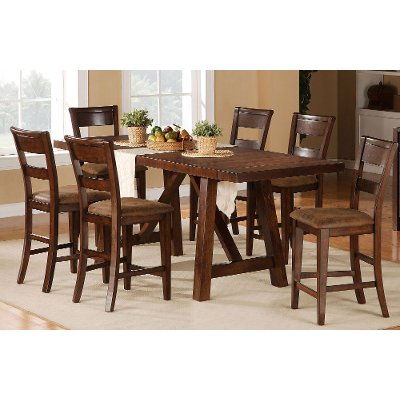 5 piece dining set transitional veca burnished mango - Dining Set Furniture