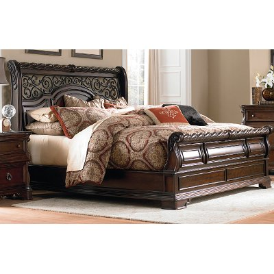 Traditional Brown King Size Sleigh Bed - Arbor Place