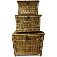 Medium Woven Wicker Lidded Fishing Basket
