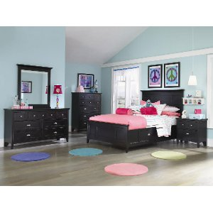 ... Clearance Classic Contemporary Black 6 Piece Full Bedroom Set   Bennett