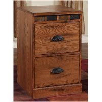 Brown 2 Drawer Wood File Cabinet