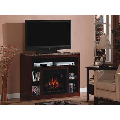 """RC Willey offers this 48 inch birch TV Stand and fireplace mantel from the Adams collection. Designed to hold up to a 53"""" TV"""