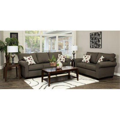 Slate Upholstered Casual Contemporary 7 Piece Room Group