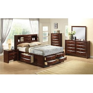 Clearance Tobacco Brown Contemporary 7 Piece King Bedroom Set Emily
