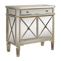 Gray and Mirrored 2 Door and 1 Drawer Console Cabinet
