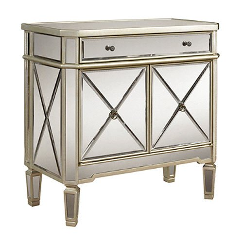 White Mirrored 2 Door And 1 Drawer Console Cabinet