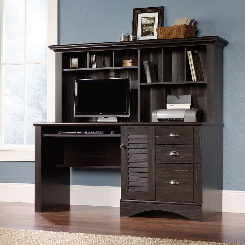 Antique Black Computer Desk with Hutch - Harbor View
