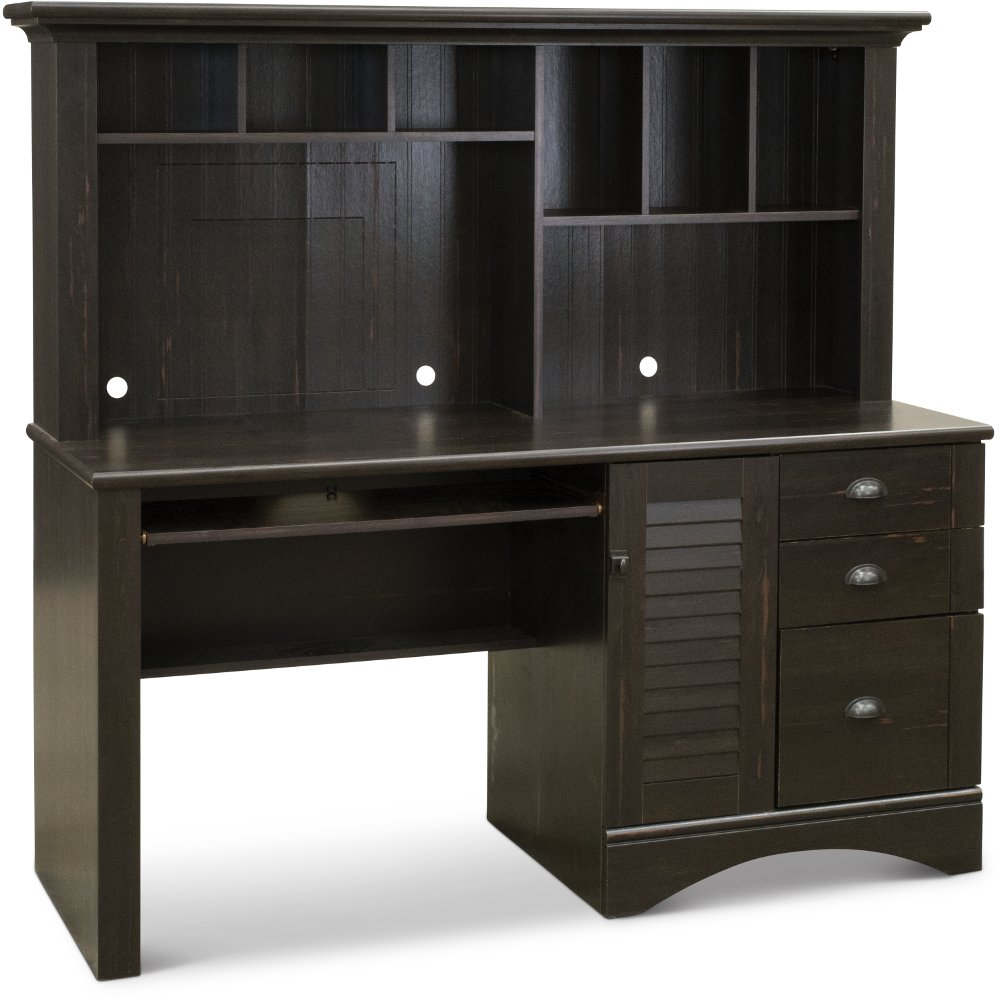 Antique Black Computer Desk with Hutch - Harbor View | RC Willey Furniture  Store - Antique Black Computer Desk With Hutch - Harbor View RC Willey