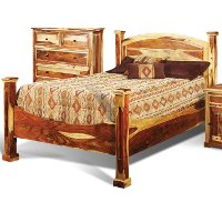Natural Pine Rustic King Size Bed - Tahoe