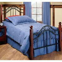 1010BTWR Wood & Iron Twin Metal Bed - Madison