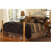 164BQR Casual Rustic Metal & Oak Queen Bed - Winsloh