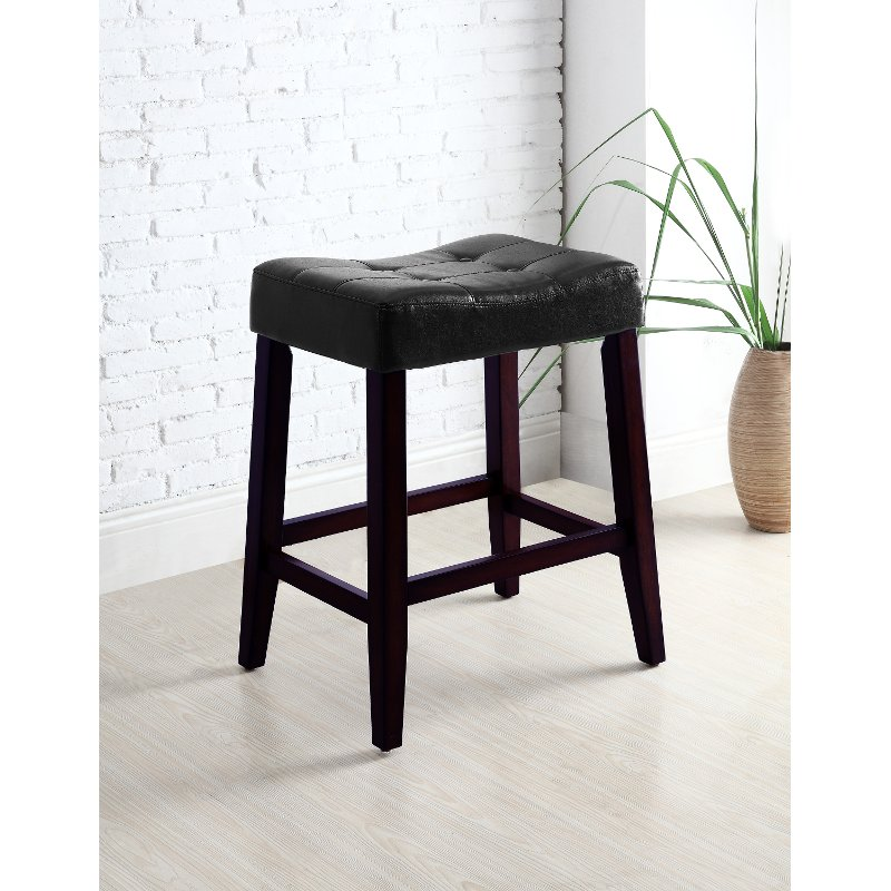 Black And Espresso Saddle Counter Height Stool