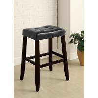 Black and Espresso Saddle Bar Stool