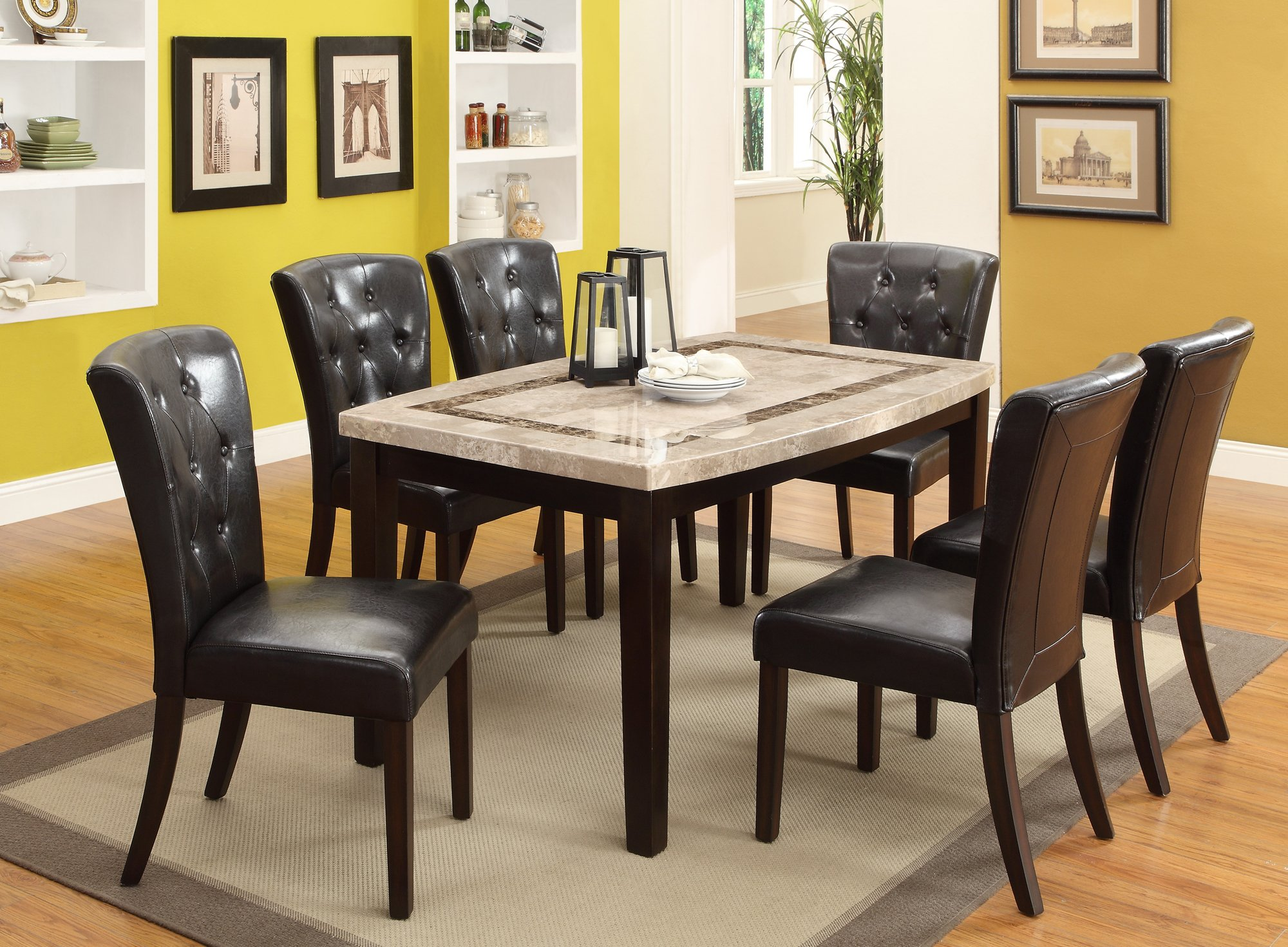 Marble and espresso 5 piece dining set montreal rc for Marble dining room table
