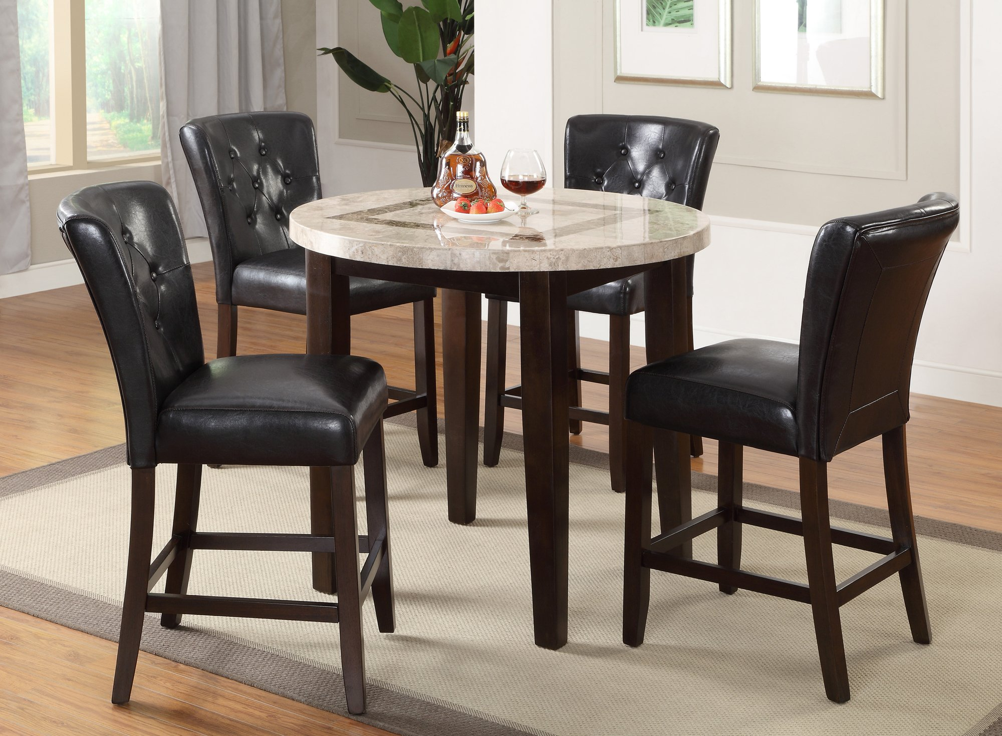 Espresso 3 Piece Pub Round Dining Set Montreal RC  : Dark Espresso and Marble Pub Round Dining b Table b Montreal rcwilley image1 from www.rcwilley.com size 2000 x 1470 jpeg 409kB