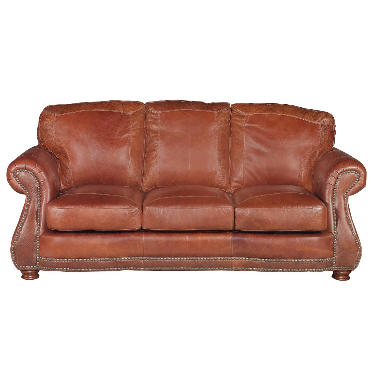 Traditional Brandy Brown Leather Sofa