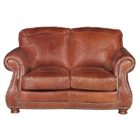Traditional Brandy Brown Leather Loveseat - Brandy