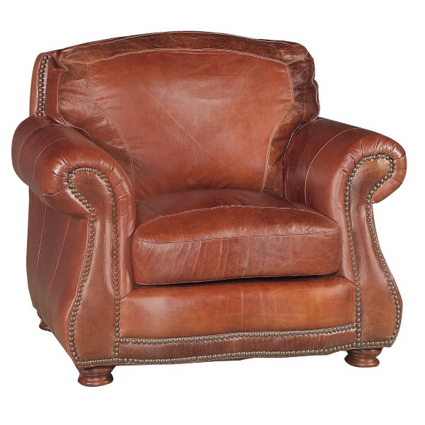 ... Traditional Brandy Brown Leather Chair   Brandy