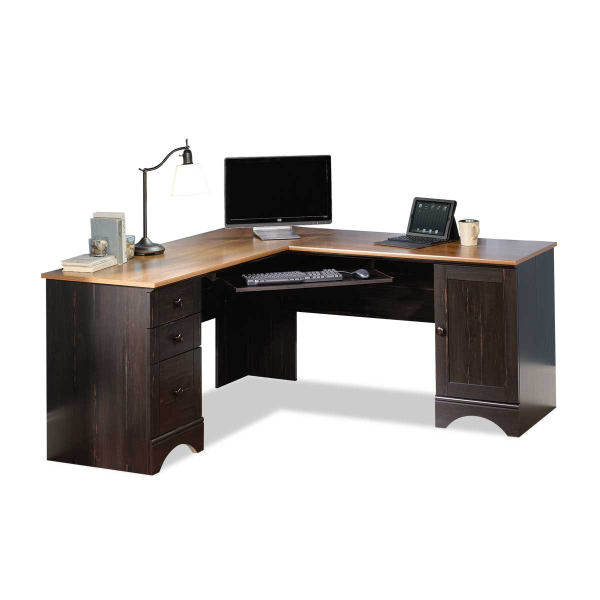 hutch desk computer products sauder carson forge corner with