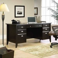 Traditional Dark Brown Executive Office Desk - Shoal Creek