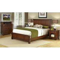 Cherry Queen Bed, Media Chest, and Nightstand - The Aspen