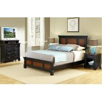 Cherry Queen Bed, Media Chest of Drawers, and Nightstand - Aspen